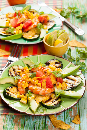 Mexican Grilled Shrimp Salad with avocado,watermelon,zucchini photo