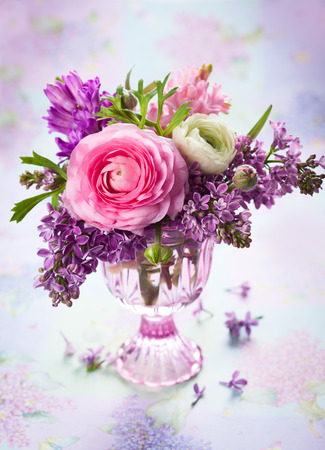 buttercup: Beautiful spring flowers in vase Stock Photo