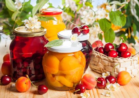 preserved: Jars of homemade fruit preserves