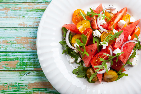 Watermelon: Tomato and Watermelon Salad with Feta and balsamic sauce