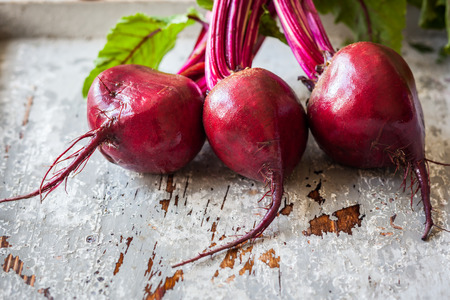 Fresh organic beetroot with leaves Banco de Imagens