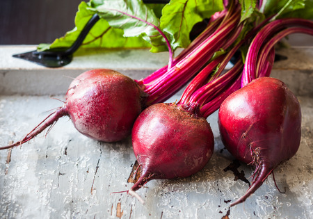 Fresh organic beetroot with leaves photo
