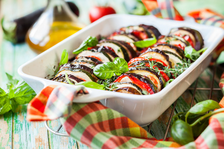 Vegetable gratin in casserole dish photo