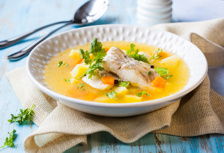 soup bowl: Fish soup with cod and vegetables