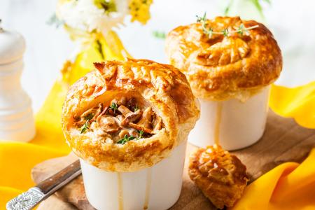 cream puff: Individual Mushroom pot pie with puff pastry crust