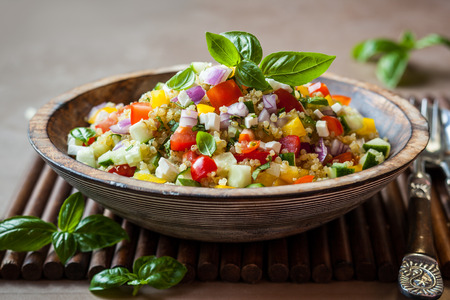 quinoa: Quinoa salad with cucumber,tomato and feta
