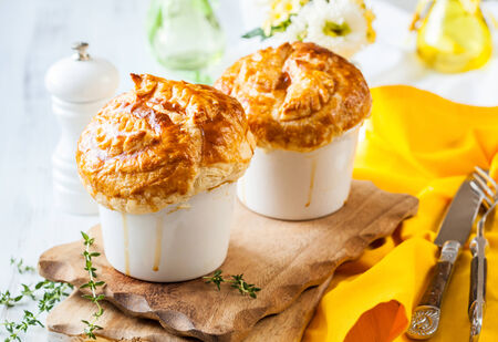 pastry crust: Individual Mushroom pot pie with puff pastry crust