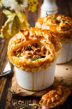 chanterelle: Individual Mushroom pot pie with puff pastry crust