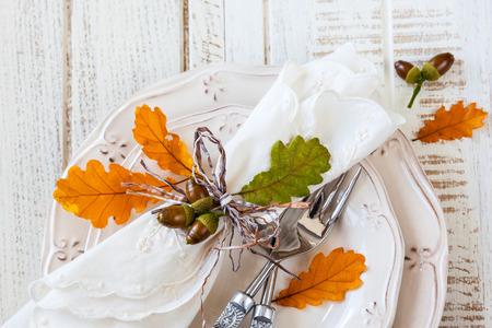 가을 테이블 설정 스톡 콘텐츠