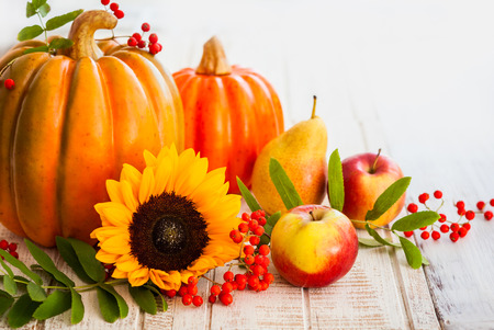 Autumn still life with seasonal fruits,vegetables and flowers photo