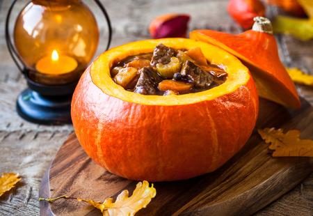 pumpkin soup: Beef stew with vegetables  in pumpkin
