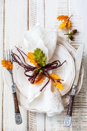 Autumn table setting photo
