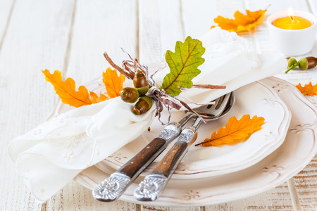 Autumn table setting photo
