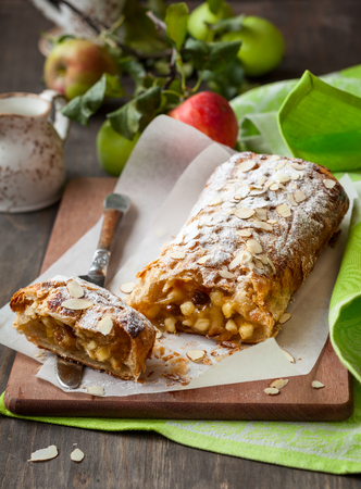 Sugar apple: Apple strudel with icing sugar and almond Stock Photo