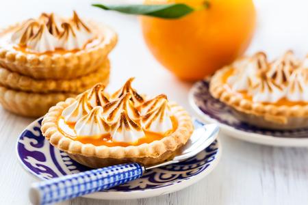 Mini orange curd and meringue tartlets for holiday