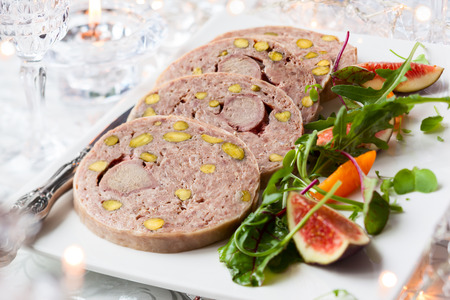 wildfowl: Duck terrine with pistachios for Christmas dinner Stock Photo