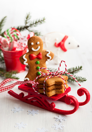 Various types of Christmas decorative cgingerbread photo