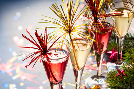 Champagne cocktail for  New Year and Christmas Celebration photo