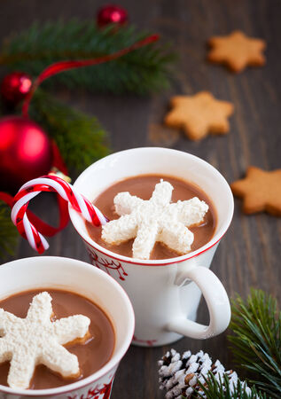 hot chocolate drink: Hot chocolate with marshmallows snowflakes Stock Photo