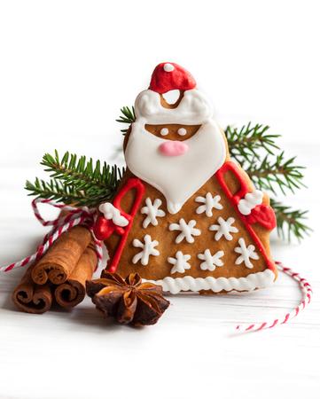Gingerbread Santa Claus with Christmas decor