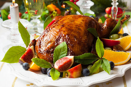 Roasted Duck with fruits for Christmas photo