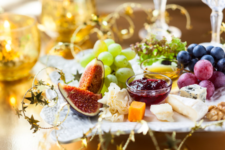 cheeseboard: Cheese platter for Christmas Stock Photo