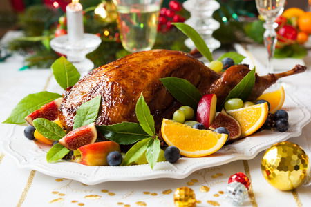 duck: Roasted Duck with fruits for Christmas