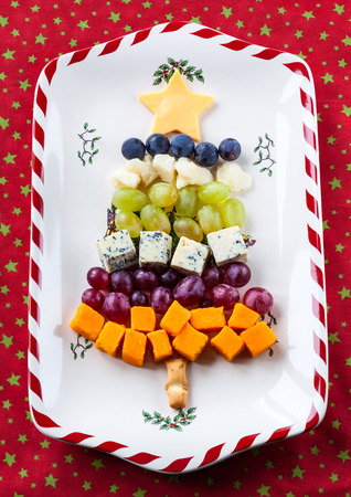cheese platter: Christmas tree cheese platter