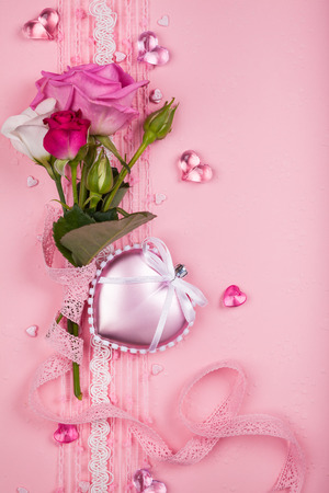 mother s day: Valentines day card  with flowers and hearts on pink background Stock Photo