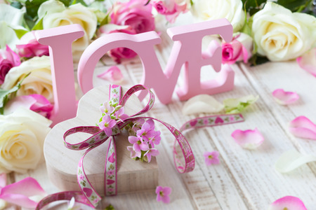 flower boxes: Valentine Stock Photo