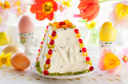 Traditional Easter quark dessert with the candied fruits photo