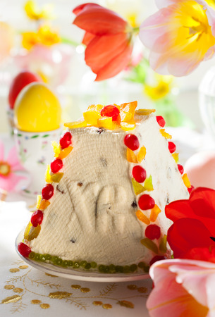 quark: Traditional Easter quark dessert with the candied fruits Stock Photo
