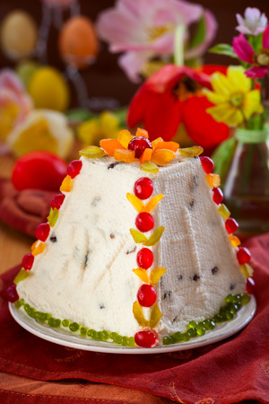 russian easter: Traditional Easter quark dessert with the candied fruits Stock Photo