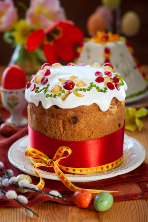 Festive Easter cake with the candied fruits photo
