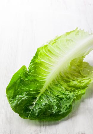 romaine: Romaine lettuce on white wooden board