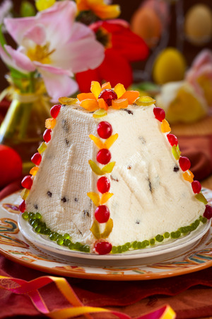 paskha: Traditional Easter quark dessert with the candied fruits Stock Photo