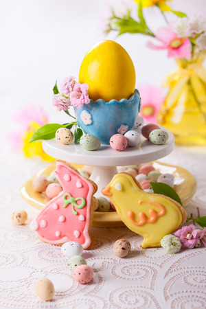 Easter homemade cookies decorated with icing photo