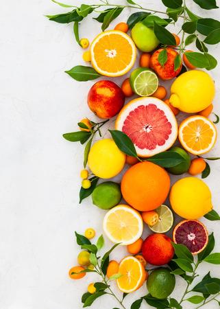 Diverse verse citrusvruchten met bladeren