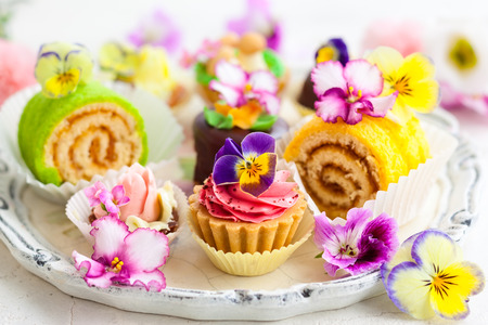 tartlet: Assorted cakes and pastries for afternoon tea Stock Photo