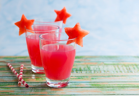 cool mint: Watermelon drink in glasses with slices of watermelon in star shape