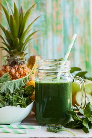 Fresh green smoothie with kale