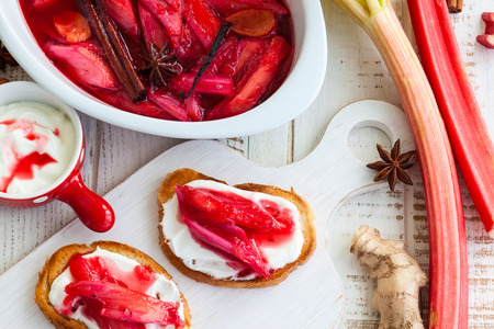 syrupy: Toasted bread with yogurt and top with syrupy spiced rhubarb