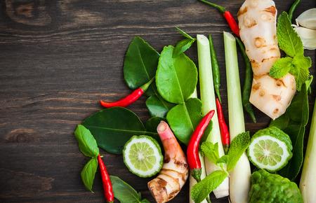 Hierbas e ingredientes picantes comida asiática fresca Foto de archivo