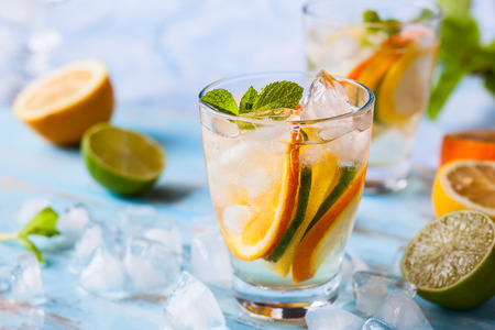 cold beverages: refreshing cold citrus water with mint