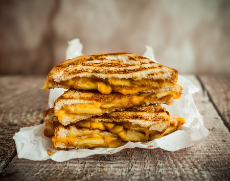 caramelized: Grilled cheese sandwich with caramelized apples