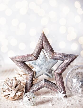 christmas star: Christmas background with decorative star,Christmas balls and pine cones