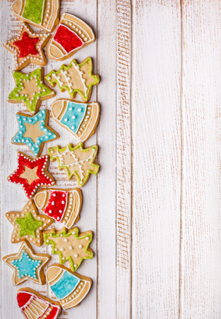 tree top view: Christmas cookies on wooden background