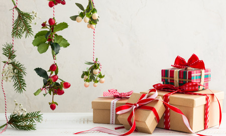 Different Christmas presents with handmade decoration