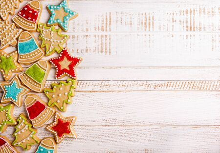 ornament frame: Christmas cookies on wooden background