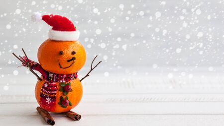 tangerine tree: Happy snowman made out of tangerines,clove and winter berries Stock Photo